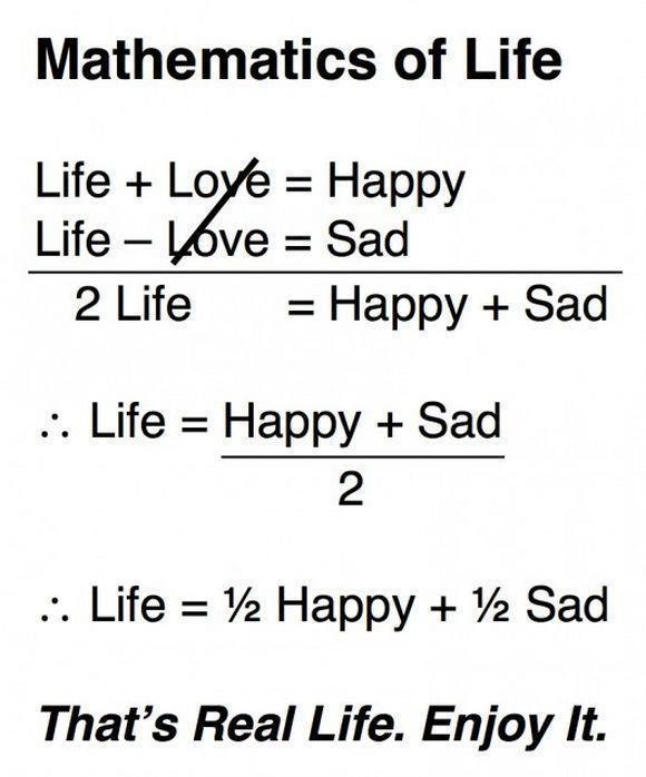 Inspirational Thoughts About Life Awesome Mathematics Of Life Quotesthoughts  Daily Inspirations For