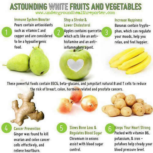 benefits of white fruits and vegetables