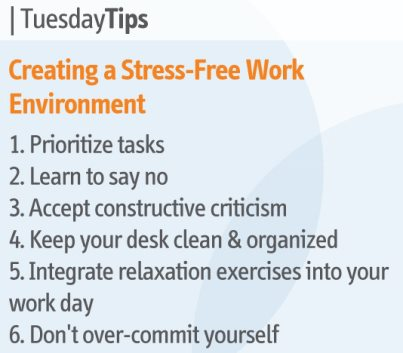 Tuesday Tips Creating A Stress Free Work Environment