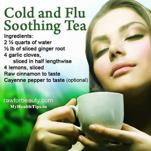 Cold and Flu Soothing Tea , ginger root, garlic, lemon, cinnamon, cayenne pepper